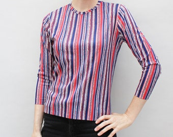 60s vintage polyester blouse, jagged thin stripes, red white, pink & blue, zipper back - Small / Medium