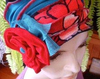 Womens Elegant hat 1920s Womens beanie Headband Soft Chemo headwear Flapper hat Bohemian  with red flower