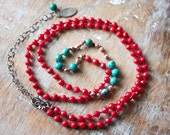 Red Coral, Turquoise, Sterling Silver, Silk Knotted, Long Necklace... Kismet...