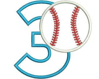 3rd Birthday Applique Design - Baseball Birthday Applique Design - Machine Embroidery Applique Design - 3 Sizes - Instant Download