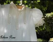 Baby Girls White Ecru Swiss Batiste Heirloom Christening Gown Set Dedication Gown