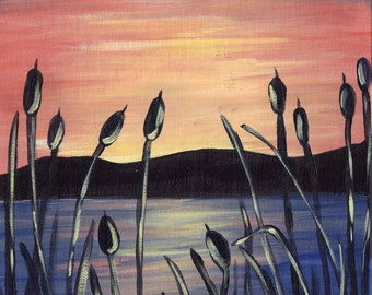 Sunset Cattails -  Acrylic Seascape Painting