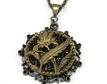 Victorian Jewelry, Antique Button Necklace, Burnt Orange & Hematite Shimmer, Victorian Button Jewelry, Vintage Button Pendant