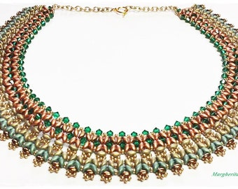 Sokar necklace tutorial. How to make a necklace with superduo beads and swarovski DIY