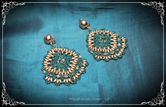 Bead Tutorial Madeira earrings pattern superduo, swarovski and seed beads