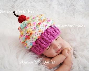 Baby Girl Hat, Baby Boy Hat, Baby Cupcake Beanie, Knit Cupcake Hat, Newborn Cupcake Hat, Preemie -Toddler, Newborn Photography Prop