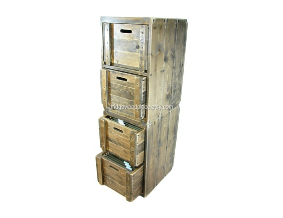 Filing Cabinet 4 Drawer Solid Wood Office File Cabinet Wood Crate