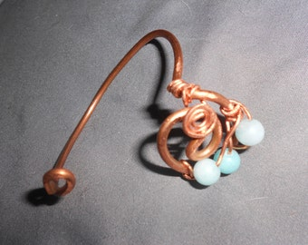 Aquamarine Cuff Copper Twisted Art Bracelet One Of A Kind Hand-Crafted Healing Energy Jewelry