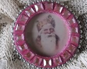 Pink Santa, Bling ornament, Romantic Victorian
