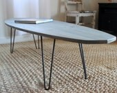 Diamond Tail Surfboard Coffee Table // Handcrafted Wood Surf Art // Surf Inspired Furniture
