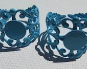 2PCS - Filigree Ring Blanks - 10mm Blank Pad - Light Blue