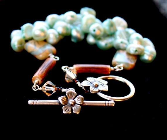 teal pearl wrapped bracelet / beaded pearls / sterling silver wire wrapped mint bracelet / creek jasper wood and swarovski beads