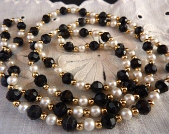 Vintage Black White Necklace Gold Bead Faux Pearl Necklace  34 inches Opera Length Lightweight Over Head Necklace Plastic Bead Necklace