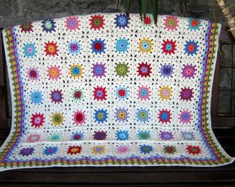 Crochet Pattern Afghan Blanket Flowers Granny Squares Instant Download