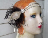 elizaveta - edwardian or 1920's headpiece, flapper headpiece, rhinestone double band, cruelty free black and ivory feathers