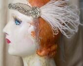 esther - 1920's flapper headpiece, art nouveau, edwardian headband - made to order- 1920's beaded fringe, antique rhinestones, taupe, ivory