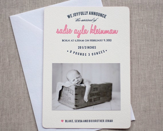 Sweet heart - Birth Announcement (50 qty)