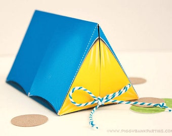 Campout Tent Favor Box - Scout Blue & Yellow : Print at Home Camping Favor Gift Box | Camp | DIY Printable | Digital File - Instant Download