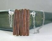 Bronze Spike Necklace - Bronze Color Greek Ceramic Spike Pendant Necklace Silver Chain