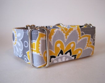 Yellow Martingale Collar, 2 Inch Martingale Collar, Yellow Dog Collar, Floral Martingale Collar, Greyhound Collar, Yellow and Grey