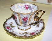 Vintage Rose Tea Cup and Saucer