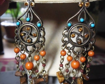 Large Boho Hippie Dangling Earrings With Tigers Eye Stones
