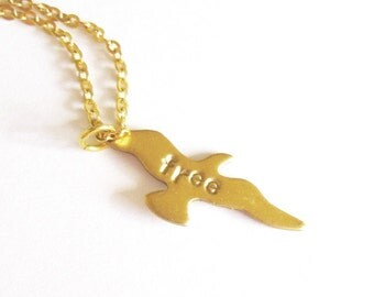 Seagull Necklace Sea Gull Jewelry Flying Free Bird Charm Gold Pendant Beach Beachy Nature Lover Accessories Boho Bohemian Unique Womens Gift