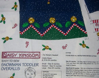 Christmas fabric panel snowman baby toddler overalls clothes cut and sew sewing pattern cotton material crafts BTY Daisy Kingdom holiday
