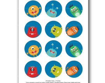 Funny Monster Party Circles Printable 2 inch