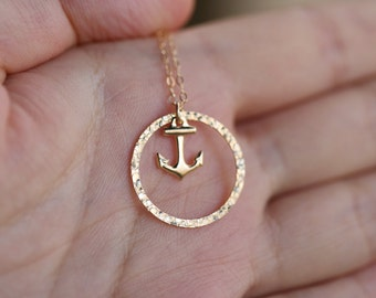 Gold Anchor necklace,Karma,Bridesmaid gifts,Wedding Jewelry,Strength,Best Friend, Friendship, Sister's Necklace