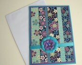 Mothers Day Card Birthday Card Any Occasion Customizable Card Turquoise Blue and Purple Floral- You Choose Sentiment on Front
