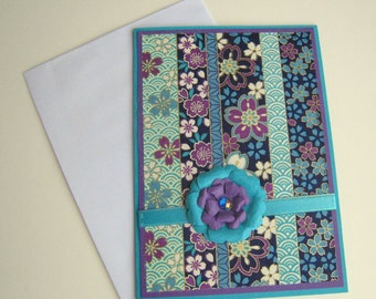 Blank Card Washi Card Purple and Turquoise Floral Customizable
