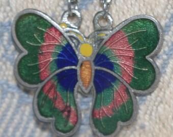 Antique - Enamel Butterfly Pendant Necklace - c1930s