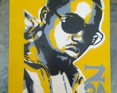 Nas stencil painting on card,spray paints,hip hop,urban art,rap music,New York,Queens,original,affordable,sun glasses,pop,escobar,hand made