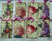 Vintage Spring Flower Ephemera Tags, Set of 8 for Journaling or Gift Tags, Vintage Style