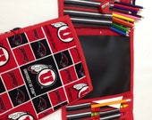 University of Utah Print Art Tote complete with chalkboard, chalk, eraser, paper pad, pencil, crayons, and colored pencils