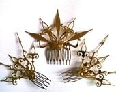 DONATION PIECE Castilian Sunburst Hair Comb Set Steampunk Accessory-Choose: Black, Gold, Mixed Colors
