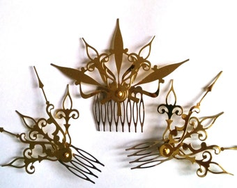 DONATION PIECE Castilian Sunburst Hair Comb Set Steampunk Accessory-Choose: Black, Gold, Mixed Colors