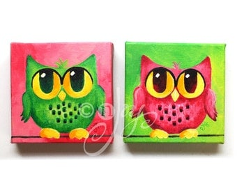 Owl Painting, Pink and Green Owl Pair, 2 6x6 acrylic canvas paintings, home, office or nursery art
