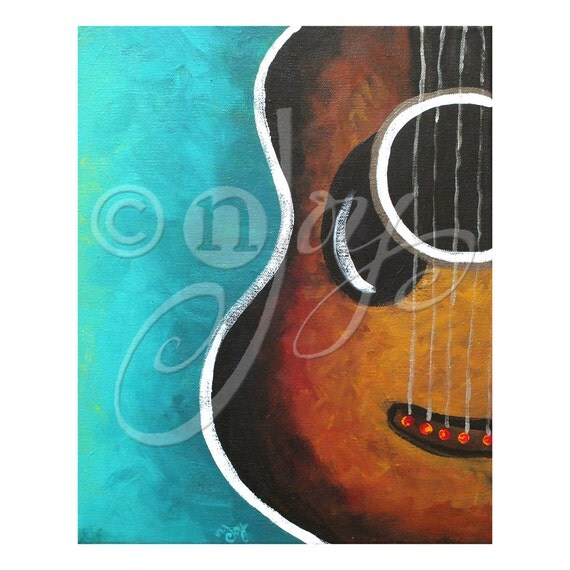 Guitar Wall Art Print Smiling Guitar 16x20 Music Themed