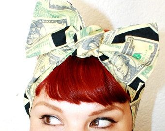 Vintage Inspired Head Scarf, Money, Dollar Bills, Retro, Rockabilly
