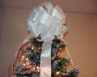 Large White Shimmer Christmas Tree topper bow