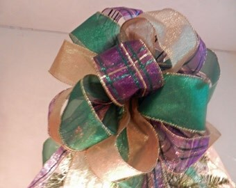 Large Christmas Tree topper bow Purple Plaid green and gold