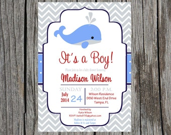Whale Baby Shower Invitation, nautical baby boy baby shower, whales, custom and printable