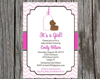 Milk and Cookies Baby Shower Invitation, cookies and milk baby girl baby shower invitation, girl, baby girl
