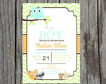 forest animals baby shower invitation baby shower gender neutral boy girl