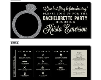 Bachelorette Party Invitation with Itinerary - Personalized Printable File or Print Package - Last Fling Before the Ring #00044-PI10(FCS)