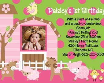 Farm Birthday Invitation - Printable or Printed - Petting Zoo Party Birthday Invitations - Girls 1st Birthday Invite - With or Without Photo