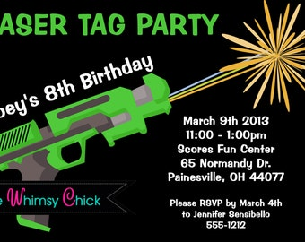 Laser Tag Birthday Invitation - Printable or Printed - Laser Tag Invitations for Boys or Girls