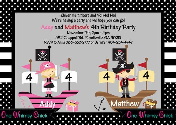 Pirate Birthday Invitation - Boy Girl Pirate Party Invitations - Printable or Printed for Twins or Siblings